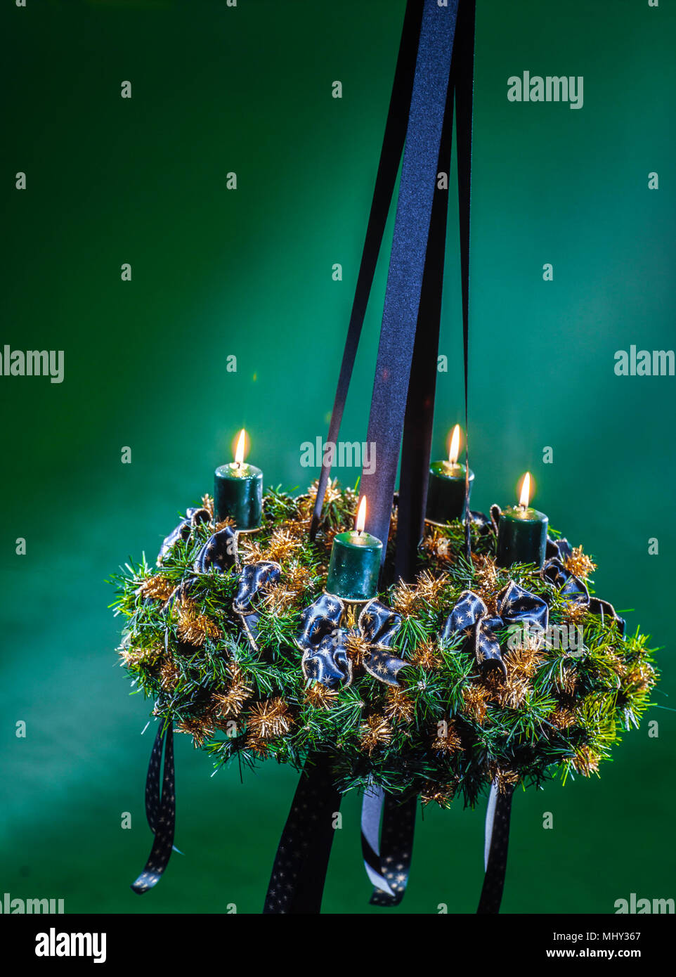 advent wreath with shiny candles, full of atmosphere Stock Photo
