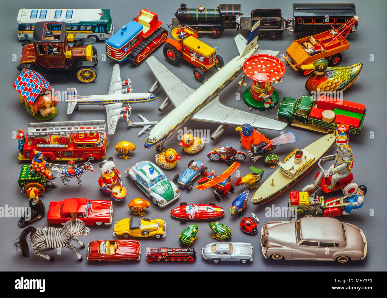 collection of historical metal toys - Stock Image
