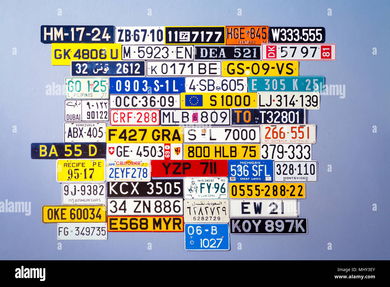 board of international Car number plates - Stock Image