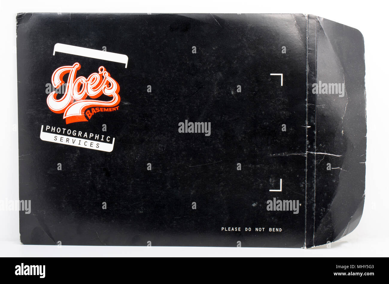 An old negative envelope from the now defunct Joe's Basement Photographic Services business on Wardour Street Soho London that closed in 2003. Joe's B - Stock Image