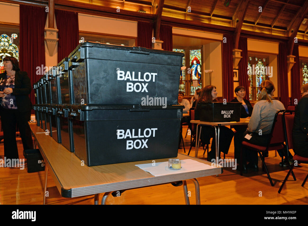 Ballot boxes in Lerwick downhill ready to be counted after an election - Stock Image