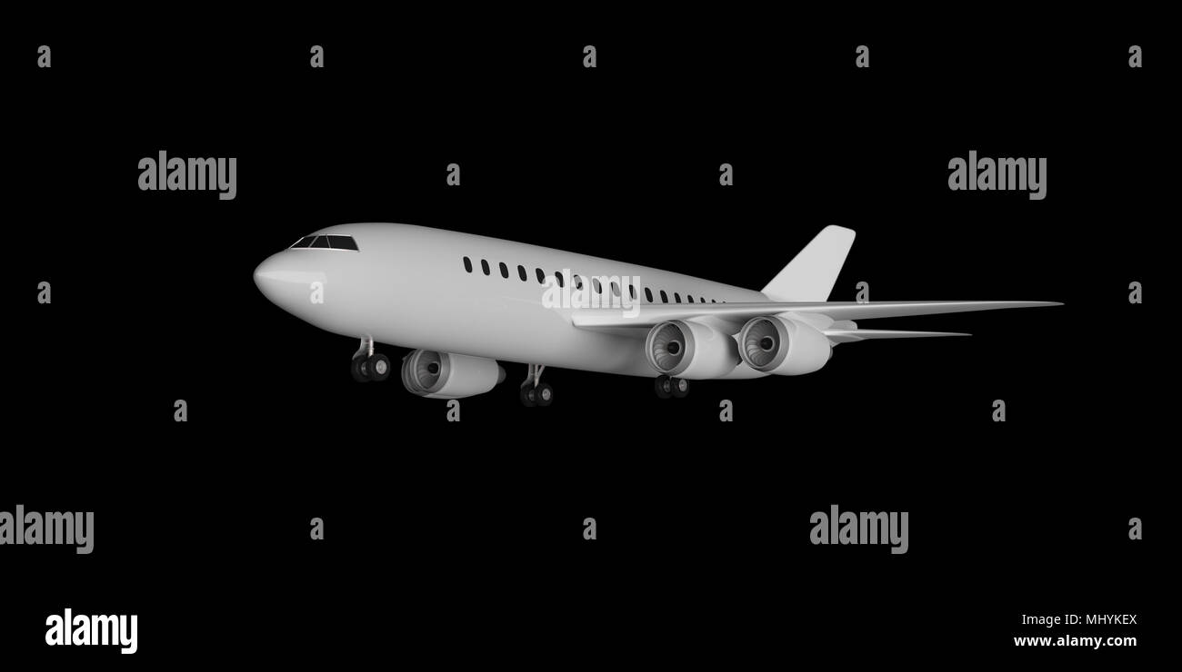 Blank commercial airplane takeoff, with four engines, on black background. 3d illustration - Stock Image