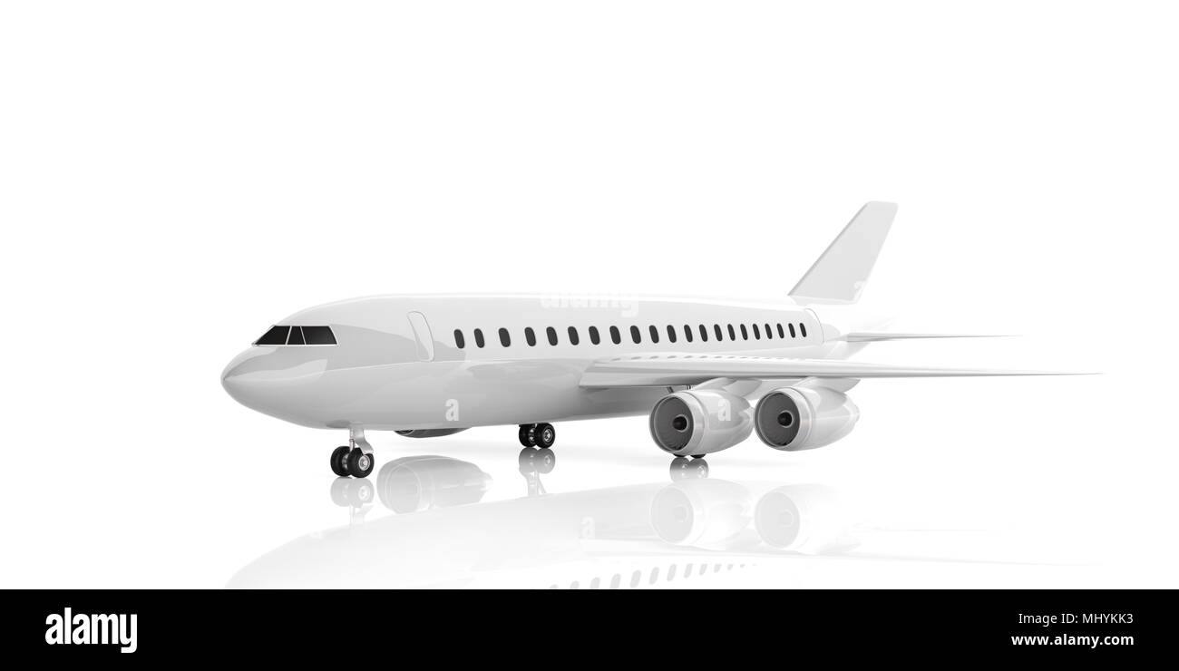 Blank commercial airplane with four engines, isolated on white background. 3d illustration - Stock Image