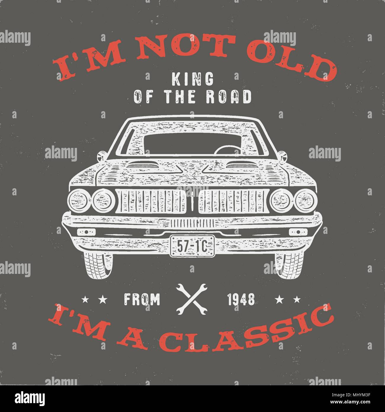 f308c889 70 Birthday Anniversary Gift T-Shirt. I'm not Old I'm a Classic, King of  the Road words with classic car. Born in 1948. Distressed retro style  poster, tee.