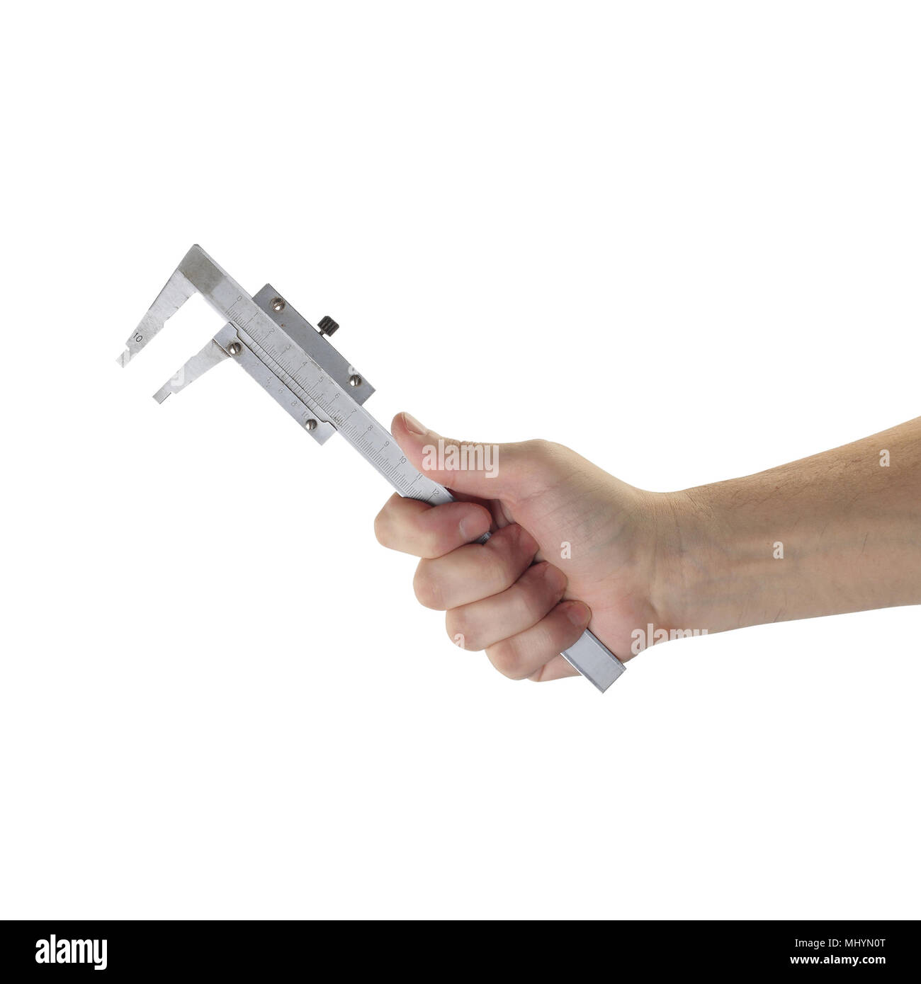 Objects tool hands action - Vernier Caliper Measuring Gauge worker hand isolated white background. - Stock Image