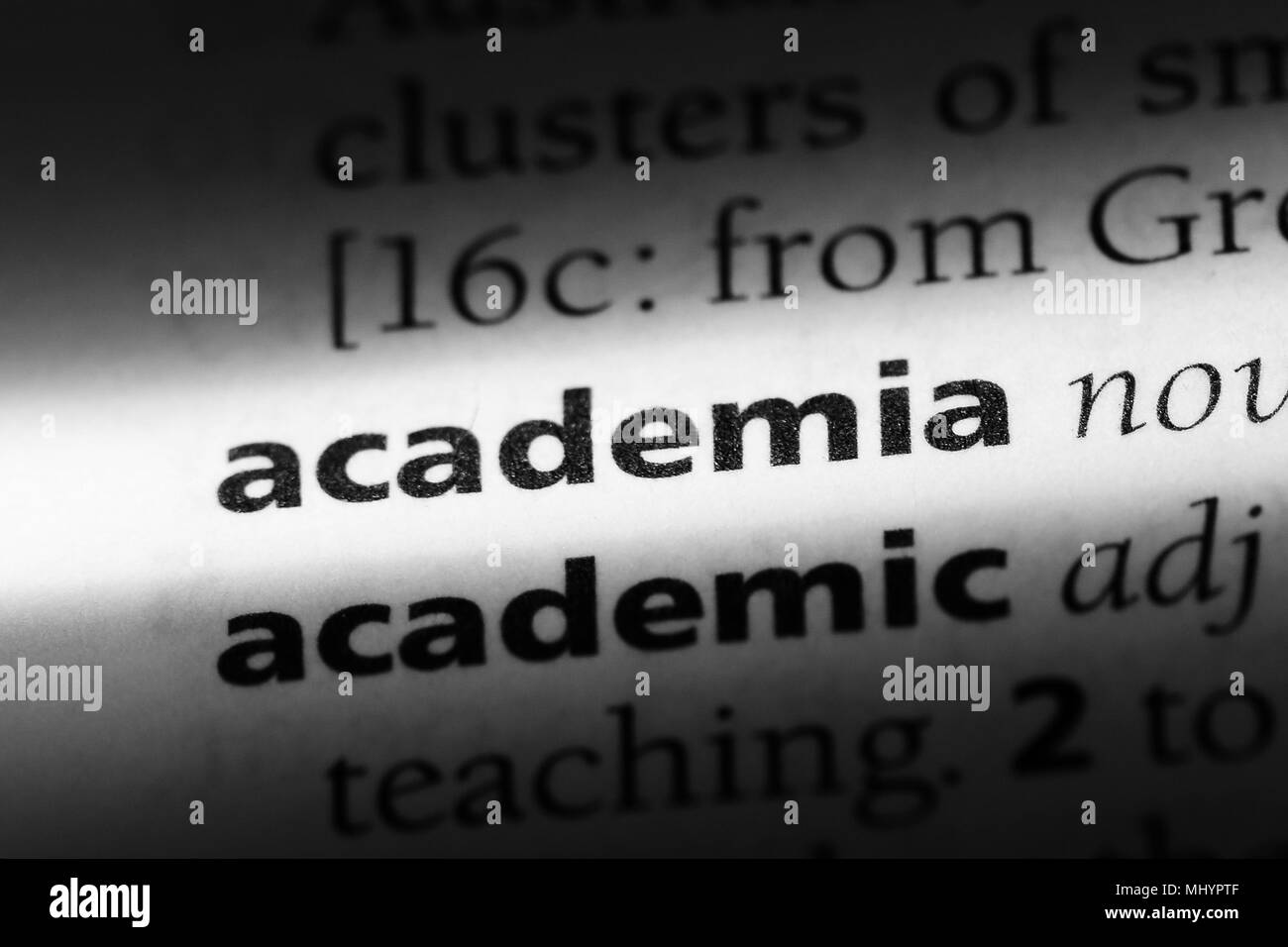 academia word in a dictionary. academia concept. - Stock Image