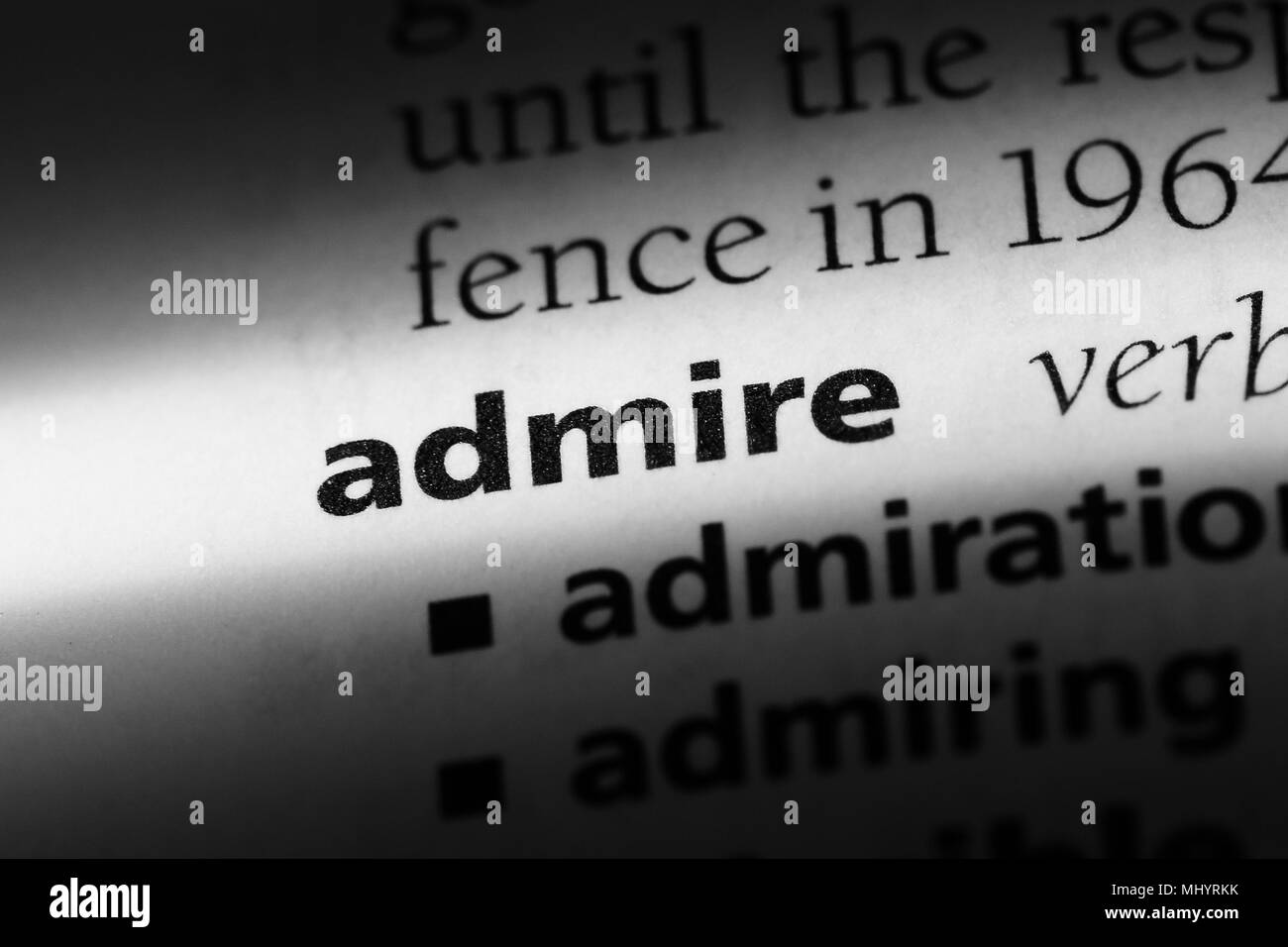 definition word admire in dictionary stock photos & definition word
