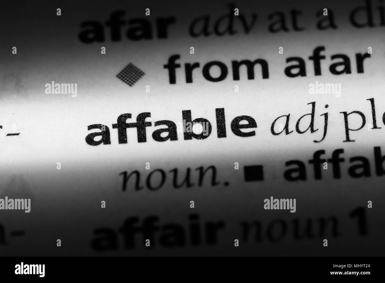 affable word in a dictionary. affable concept. - Stock Image
