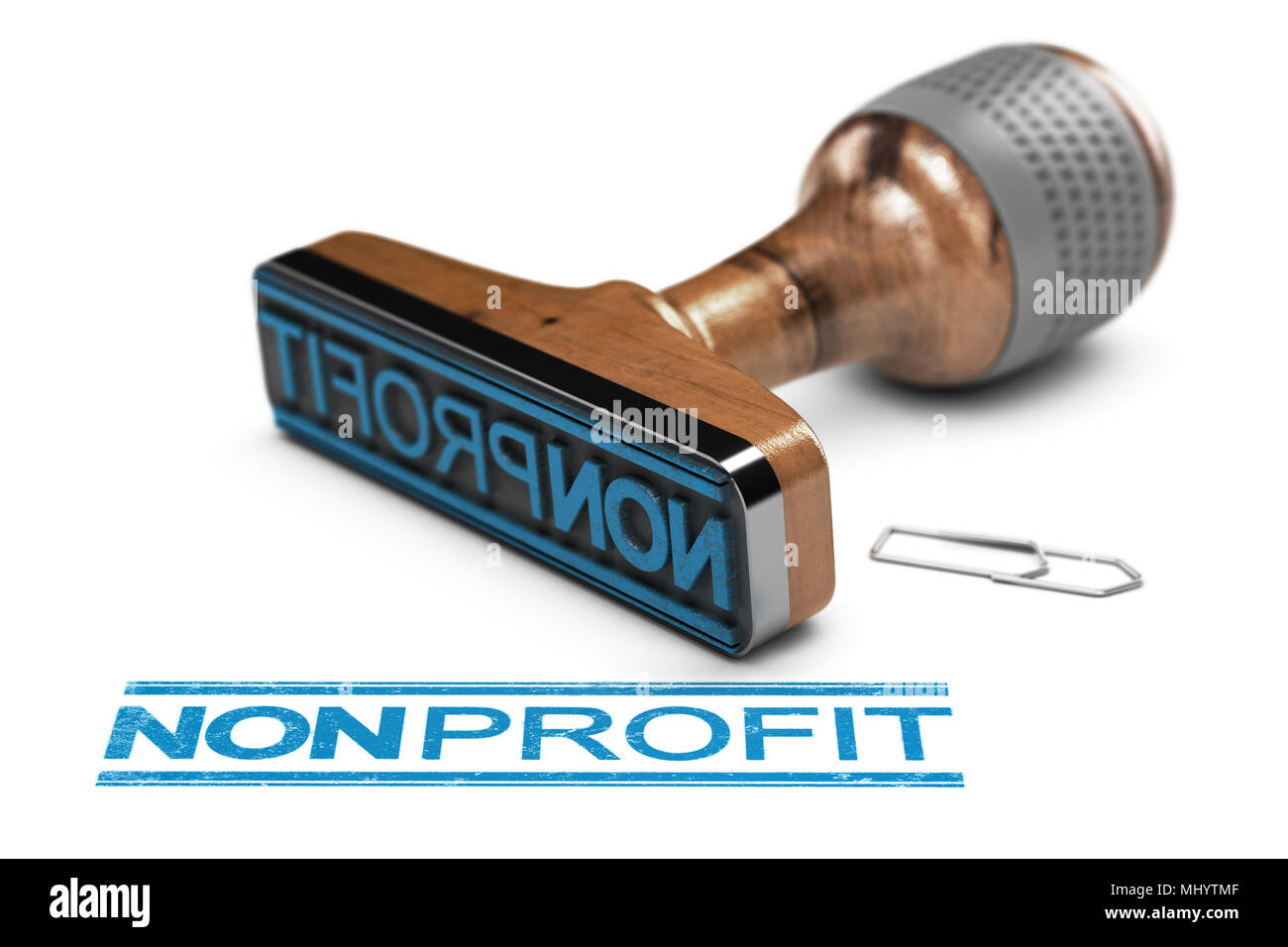 3D illustration of a rubber stamp over white background with the word nonprofit written in blue color - Stock Image