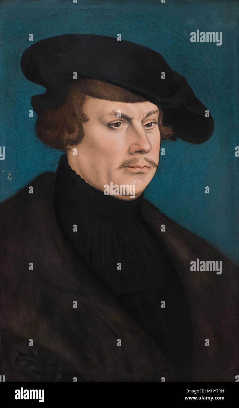 Lucas Cranach the Elder (1472-1553), Portrait of a Young Patrician, 1528. Bildnis eines jungen Patriziers. - Stock Image
