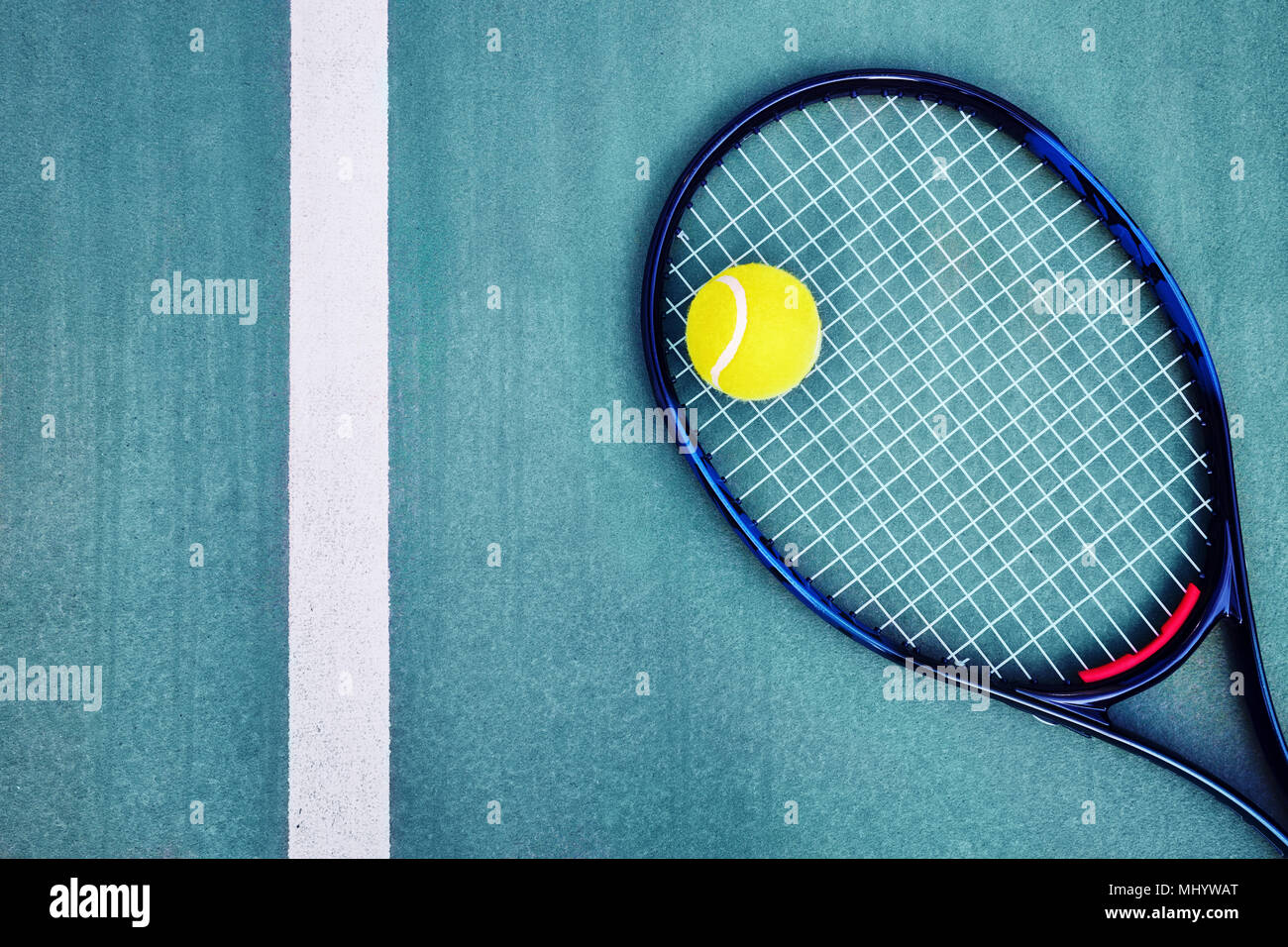 Top Down View Of A Tennis Racket A Single Ball And The White Line