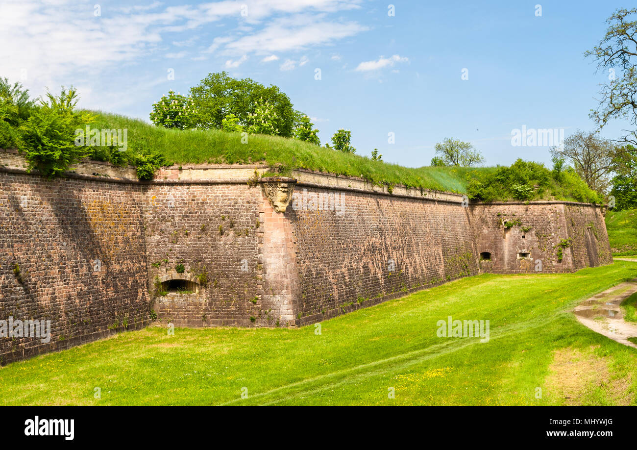 Moats and fortifications of Neuf-Brisach conceived by Vauban - Alsace, France - Stock Image