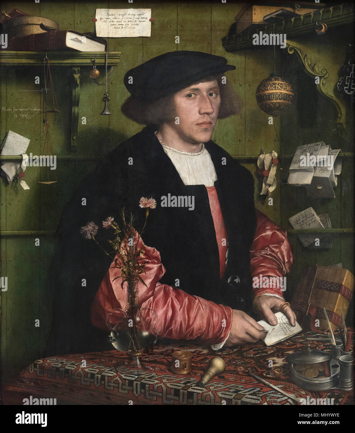Hans Holbein the Younger (1497-1543), Portrait of the Merchant Georg Gisze (1497-1562), 1532. Der Kaufmann Georg Gisze. - Stock Image