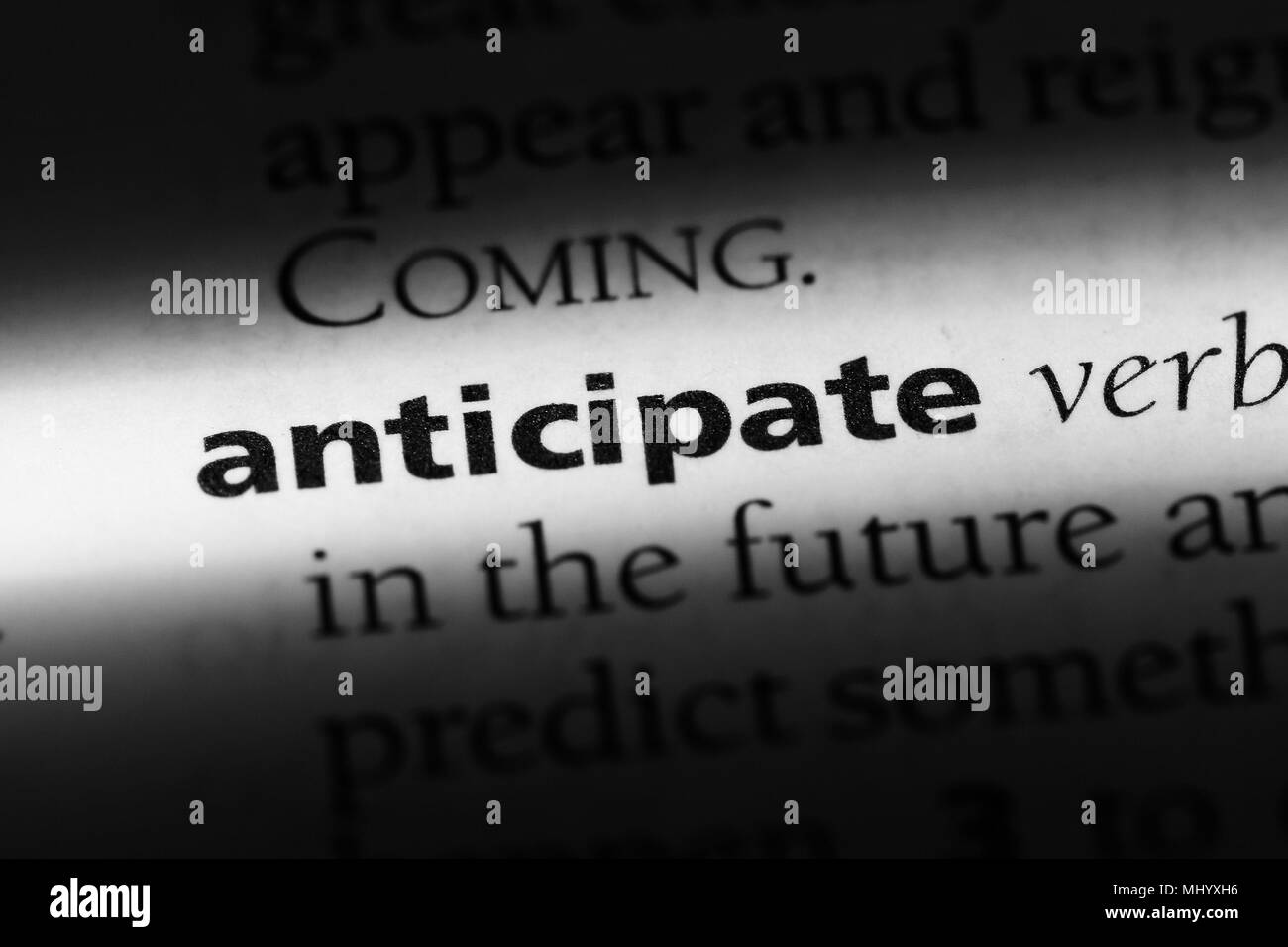 anticipate word in a dictionary. anticipate concept. - Stock Image