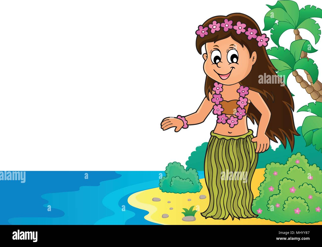 Hawaiian theme dancer image 2 - eps10 vector illustration. - Stock Vector