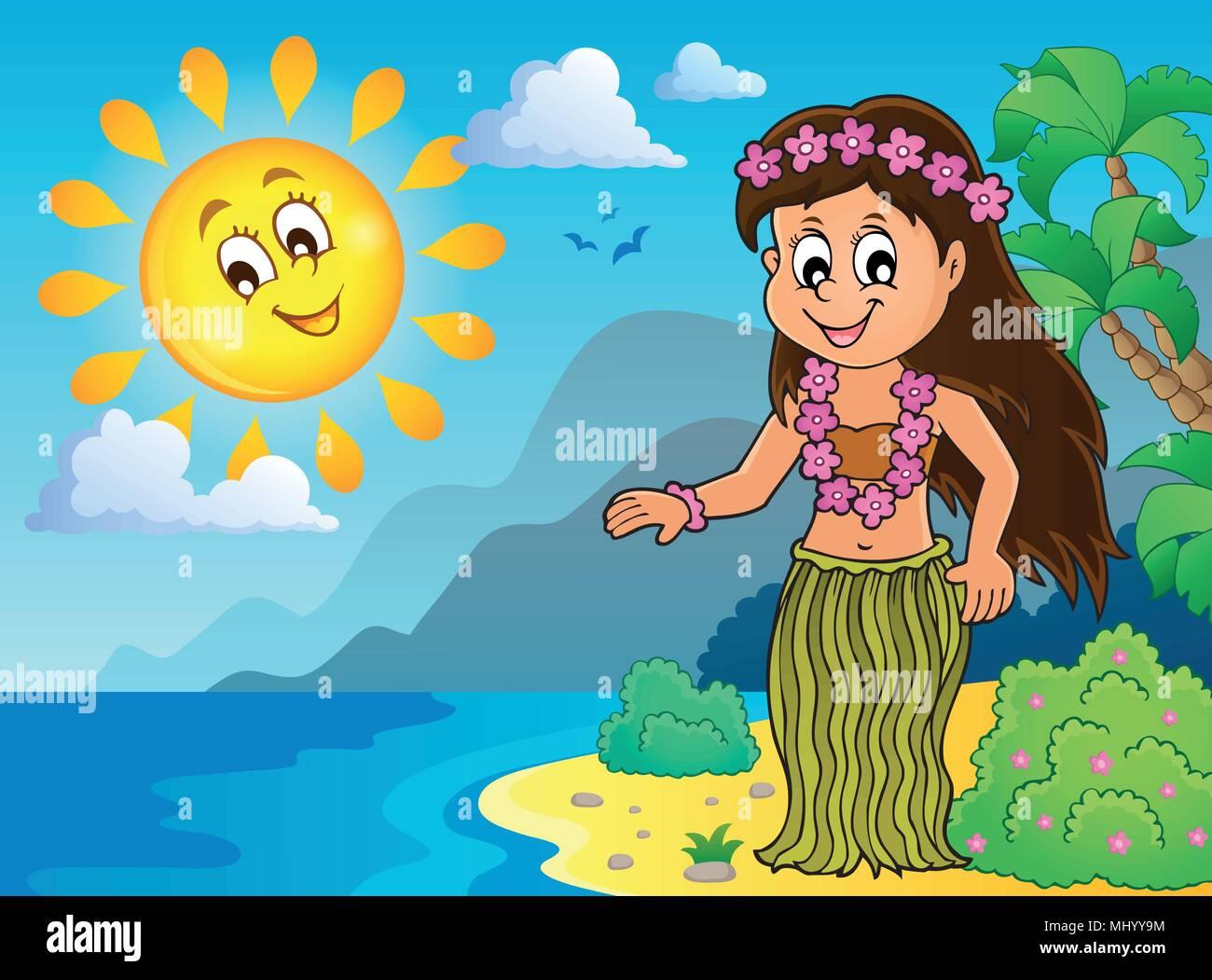 Hawaiian theme dancer image 3 - eps10 vector illustration. - Stock Vector