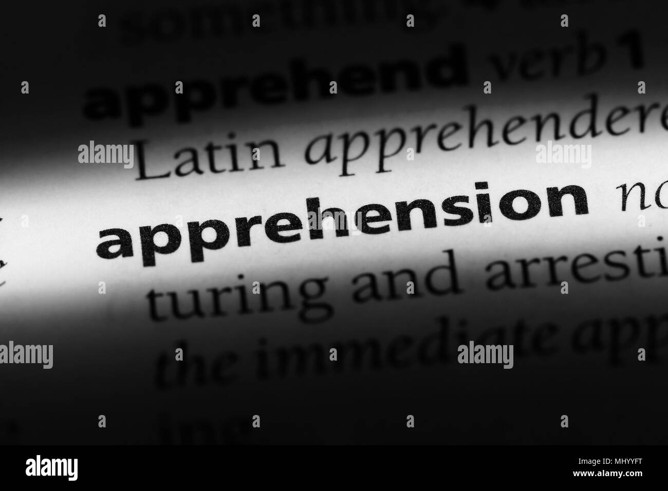 apprehension word in a dictionary. apprehension concept. - Stock Image