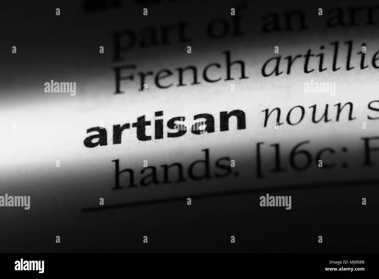 artisan word in a dictionary. artisan concept. - Stock Image