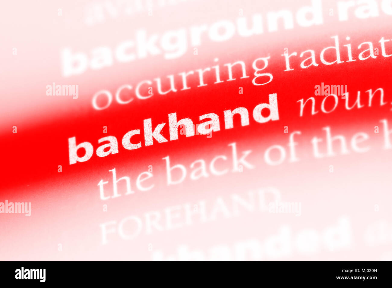 backhand word in a dictionary. backhand concept. - Stock Image