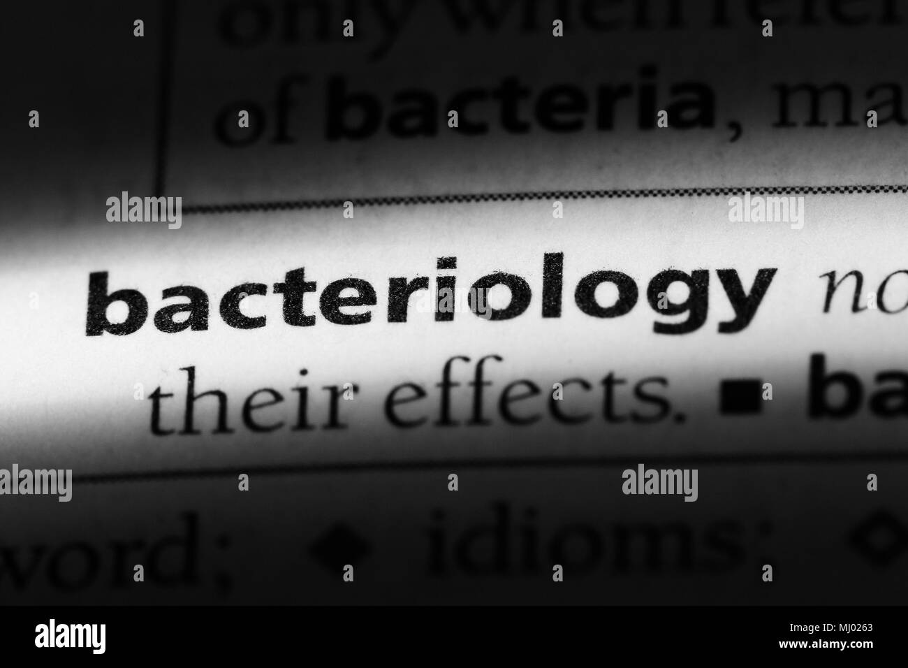 bacteriology word in a dictionary. bacteriology concept. - Stock Image