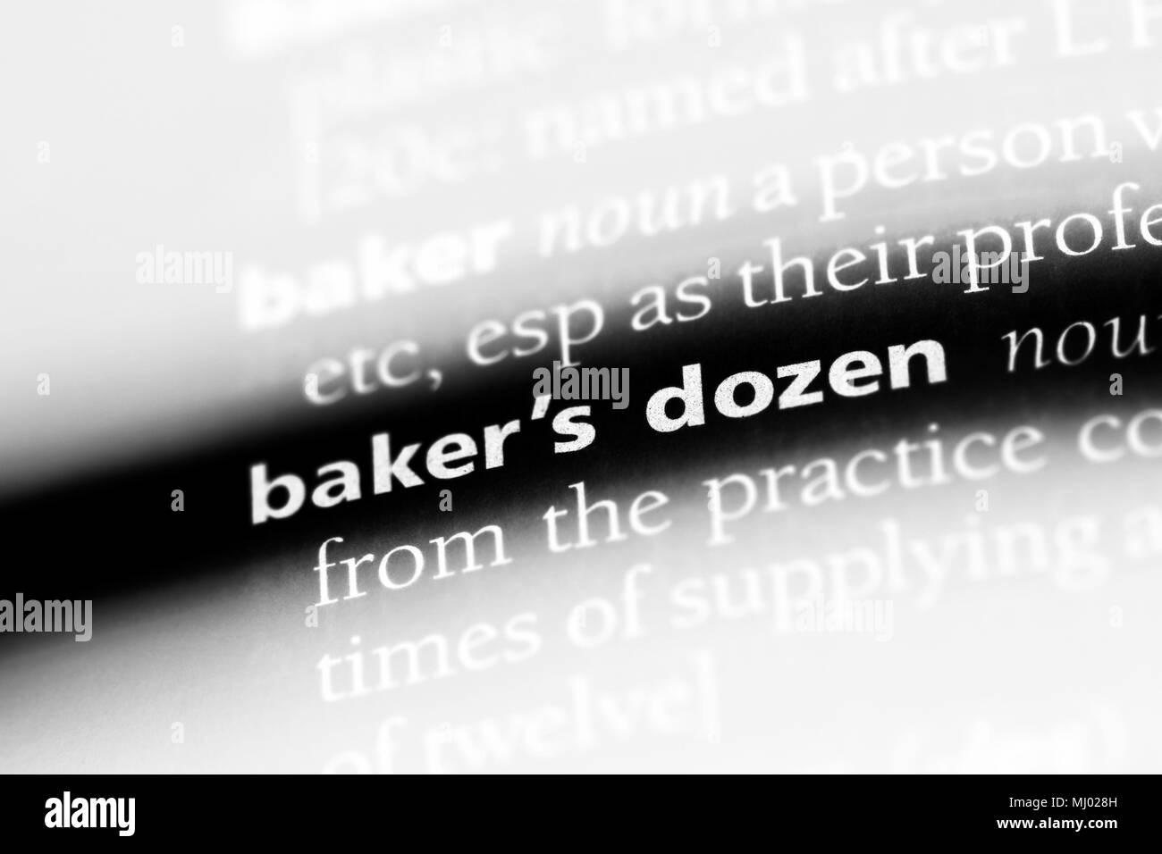 baker's dozen word in a dictionary. baker's dozen concept.