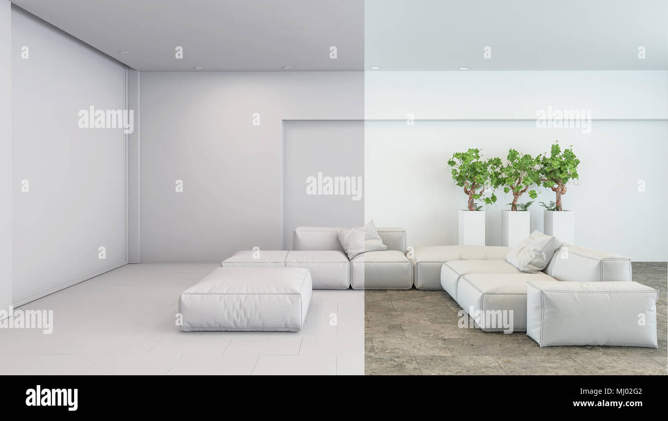 Clean Fresh White Modern Living Room Interior In Neutral Shades With  Upholstered Sofas And Poufs And Green Potted Plants. 3d Rendering