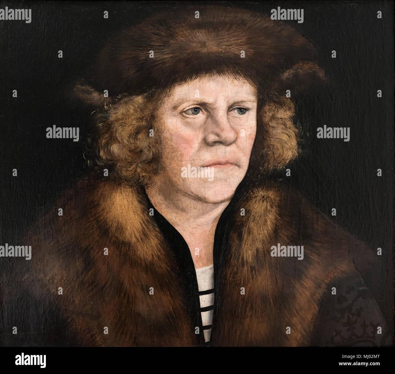 Lucas Cranach the Elder (1472-1553), Portrait of a man with brown fur beret, ca.1510/12. Bildnis eines Mannes mit braunem Pelzbarett. - Stock Image