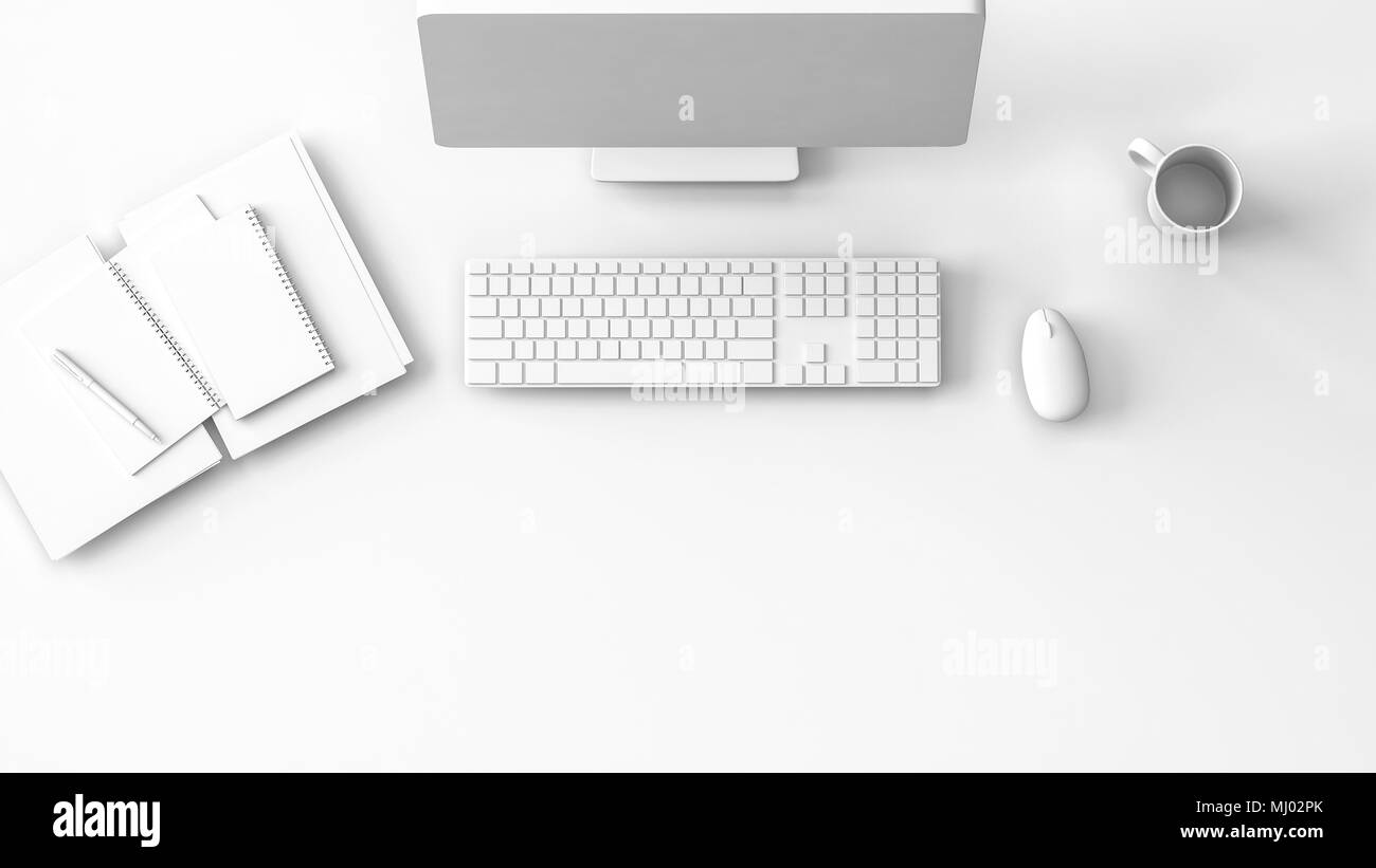 Modern pure white workstation or desk mockup with notebooks, desktop computer, mouse and keyboard and a cup of coffee viewed from overhead. 3d renderi Stock Photo