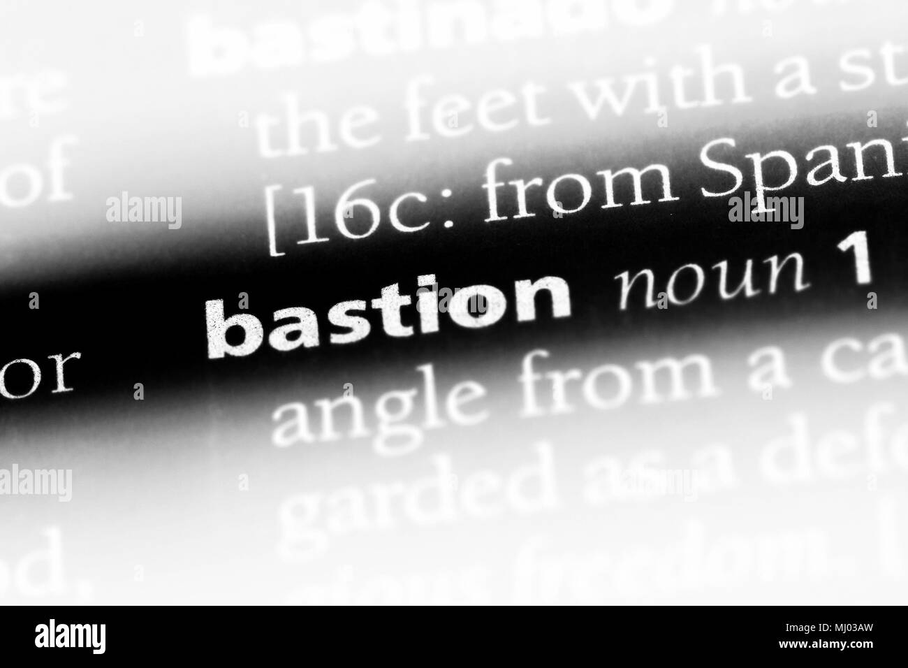 bastion word in a dictionary. bastion concept. - Stock Image