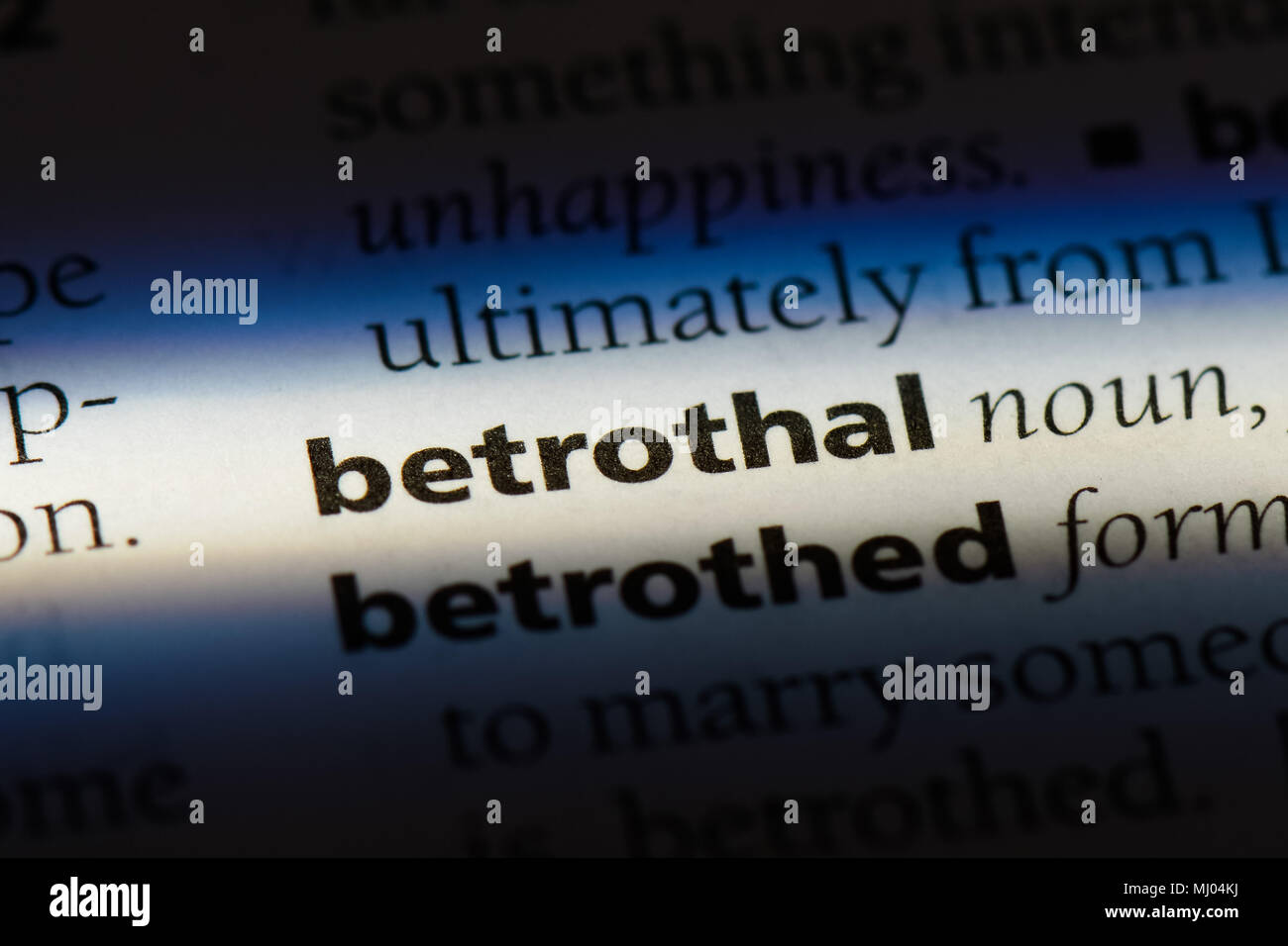 betrothal word in a dictionary. betrothal concept. - Stock Image