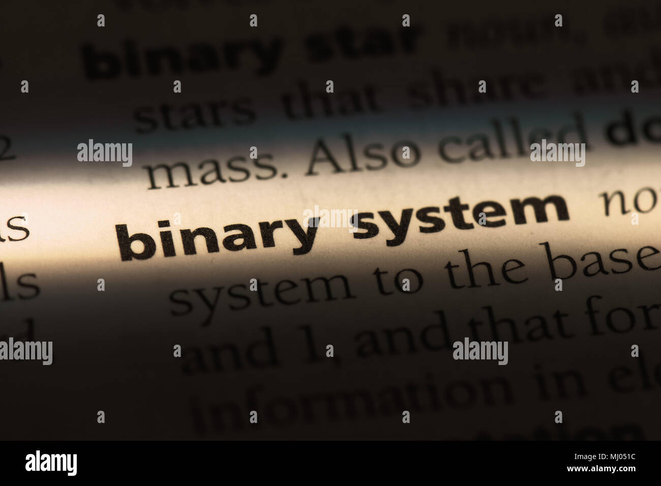 binary system word in a dictionary. binary system concept. Stock Photo
