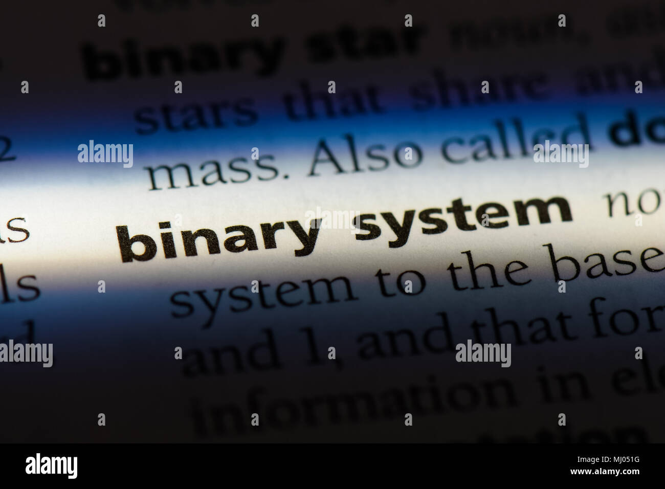 binary system word in a dictionary. binary system concept. - Stock Image
