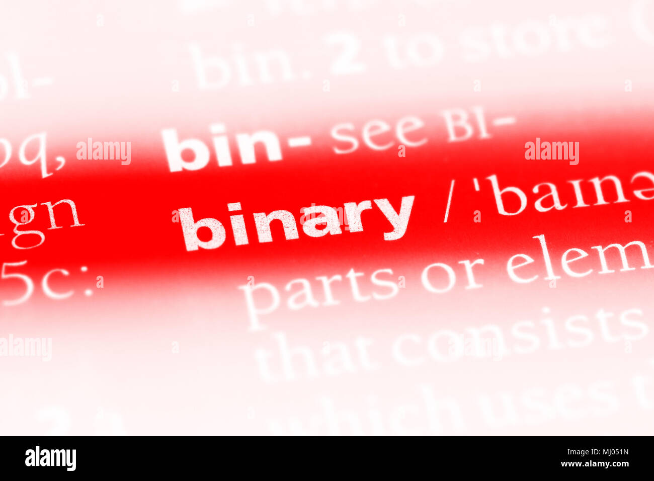 binary word in a dictionary. binary concept. Stock Photo