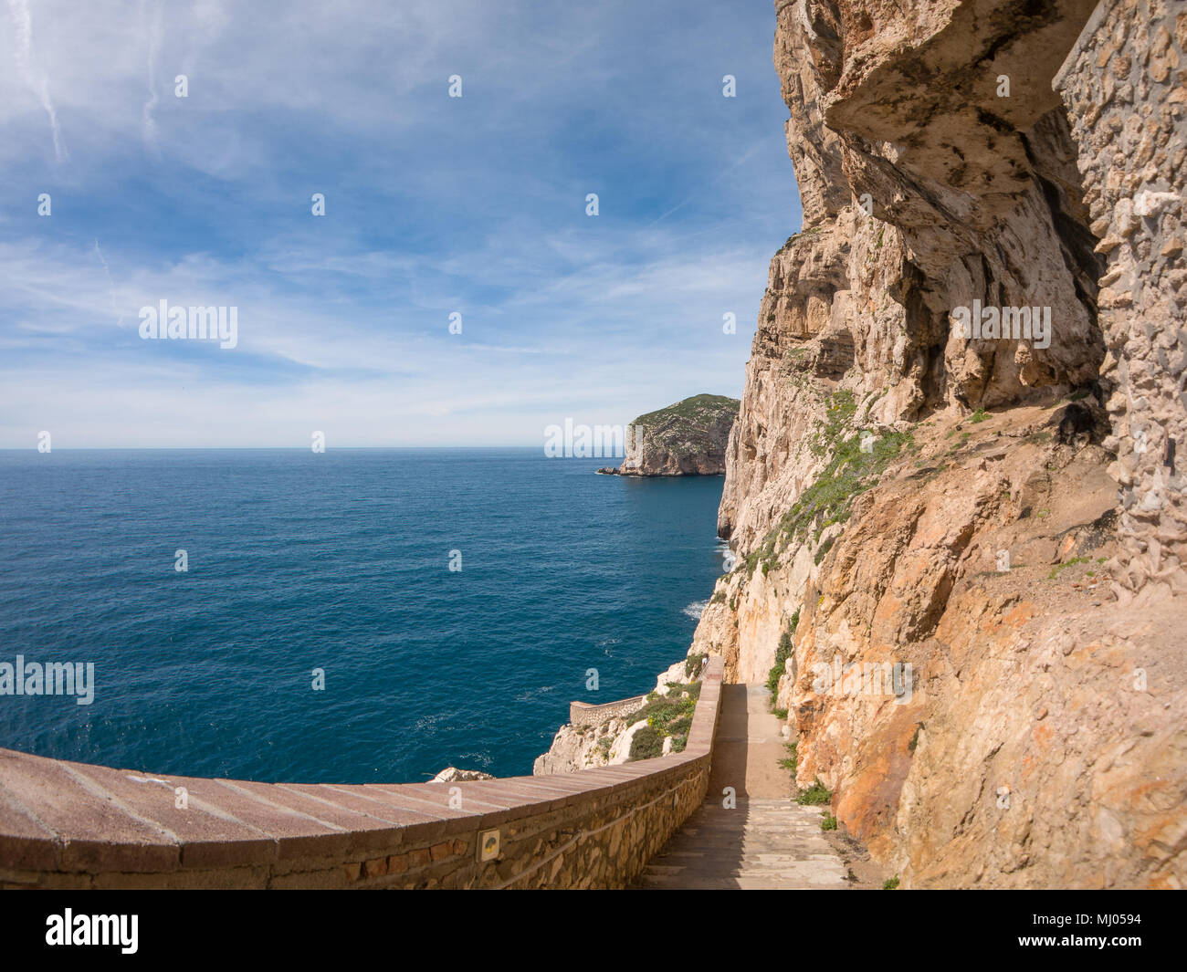 The rocky peninsula of Capo Caccia, with high cliffs, is located near Alghero; in this area there are the famous Neptune's Caves Stock Photo