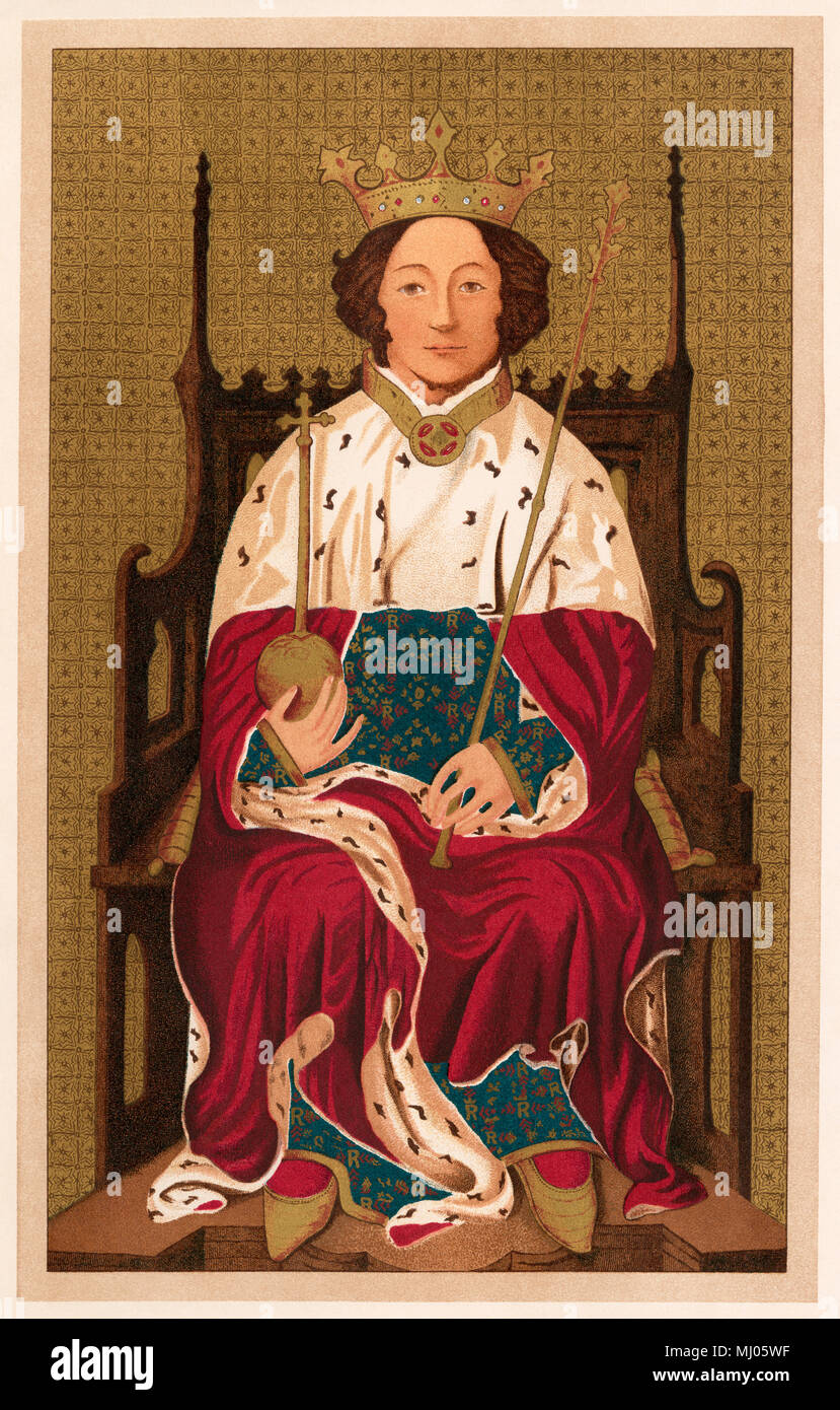 Richard II, King of England. Lithograph of a painting in Westminster Abbey - Stock Image