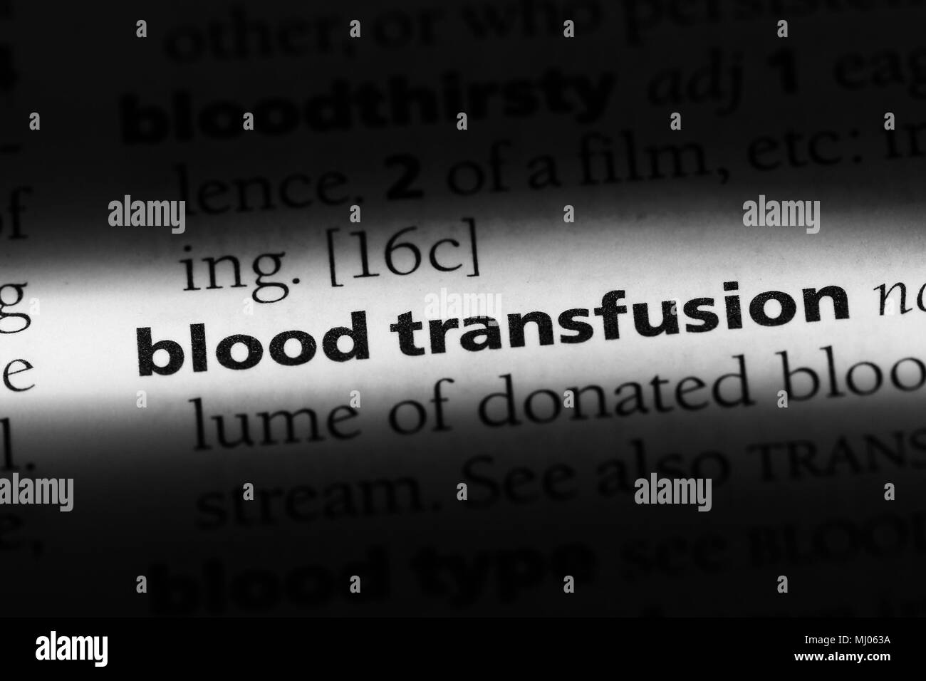 blood transfusion word in a dictionary. blood transfusion concept. - Stock Image