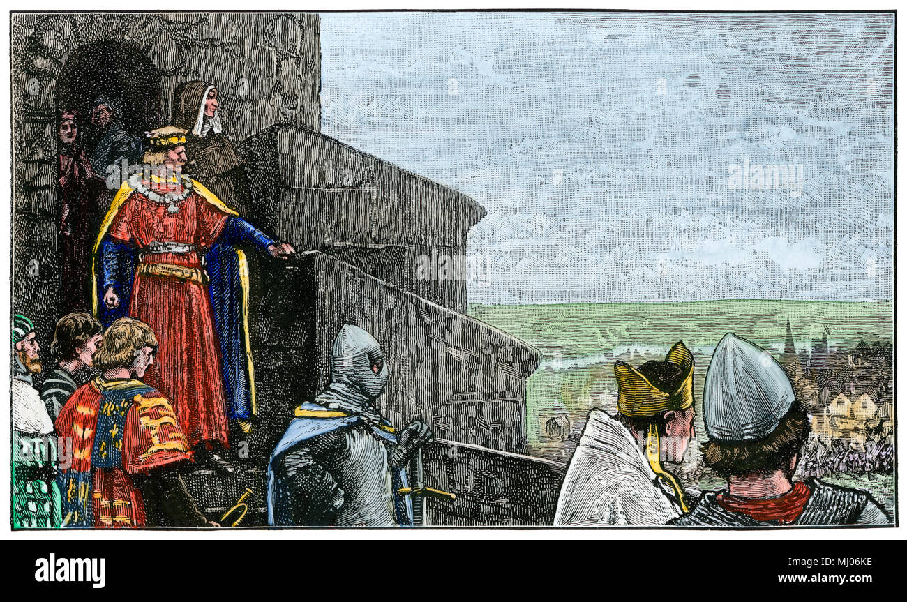 King John watching the entry of the barons into London, 1215. Hand-colored woodcut - Stock Image