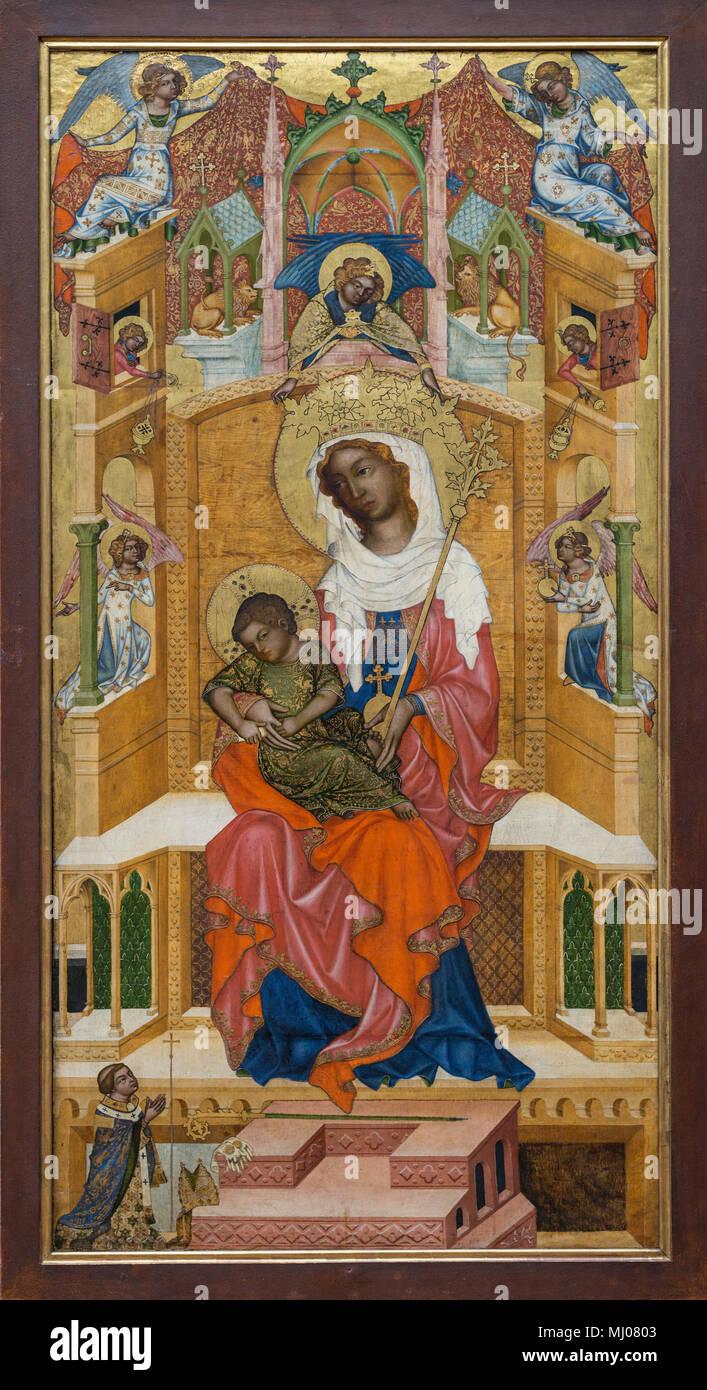 Bohemian Master (ca.1340/50), The Enthroned Madonna of Kłodzko with the child (Glatzer Madonna). Thronende Maria mit dem Kind. - Stock Image