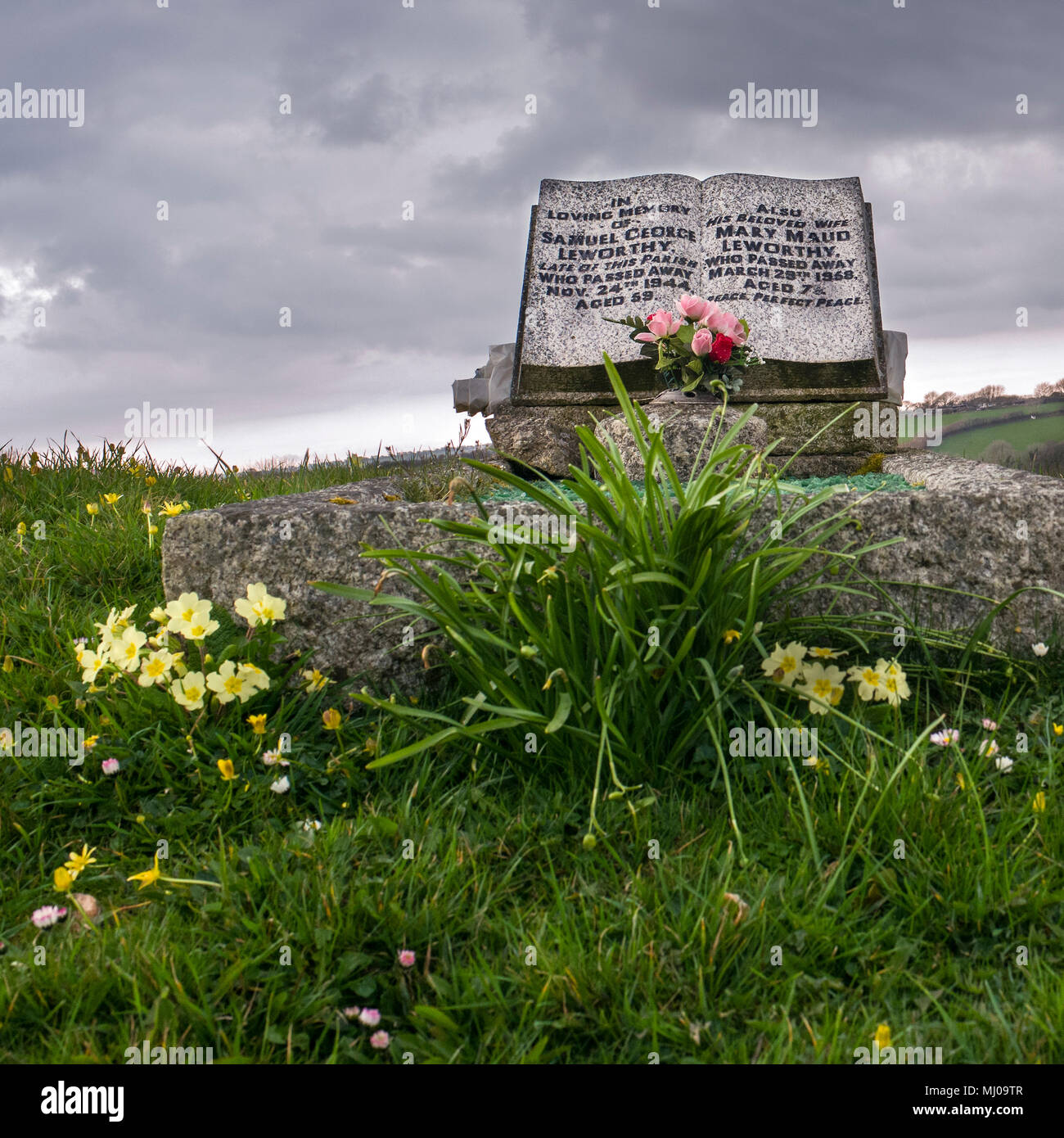 headstone in graveyard advent church civil parish on the north-western edge of Bodmin Moor in north Cornwall, England - Stock Image