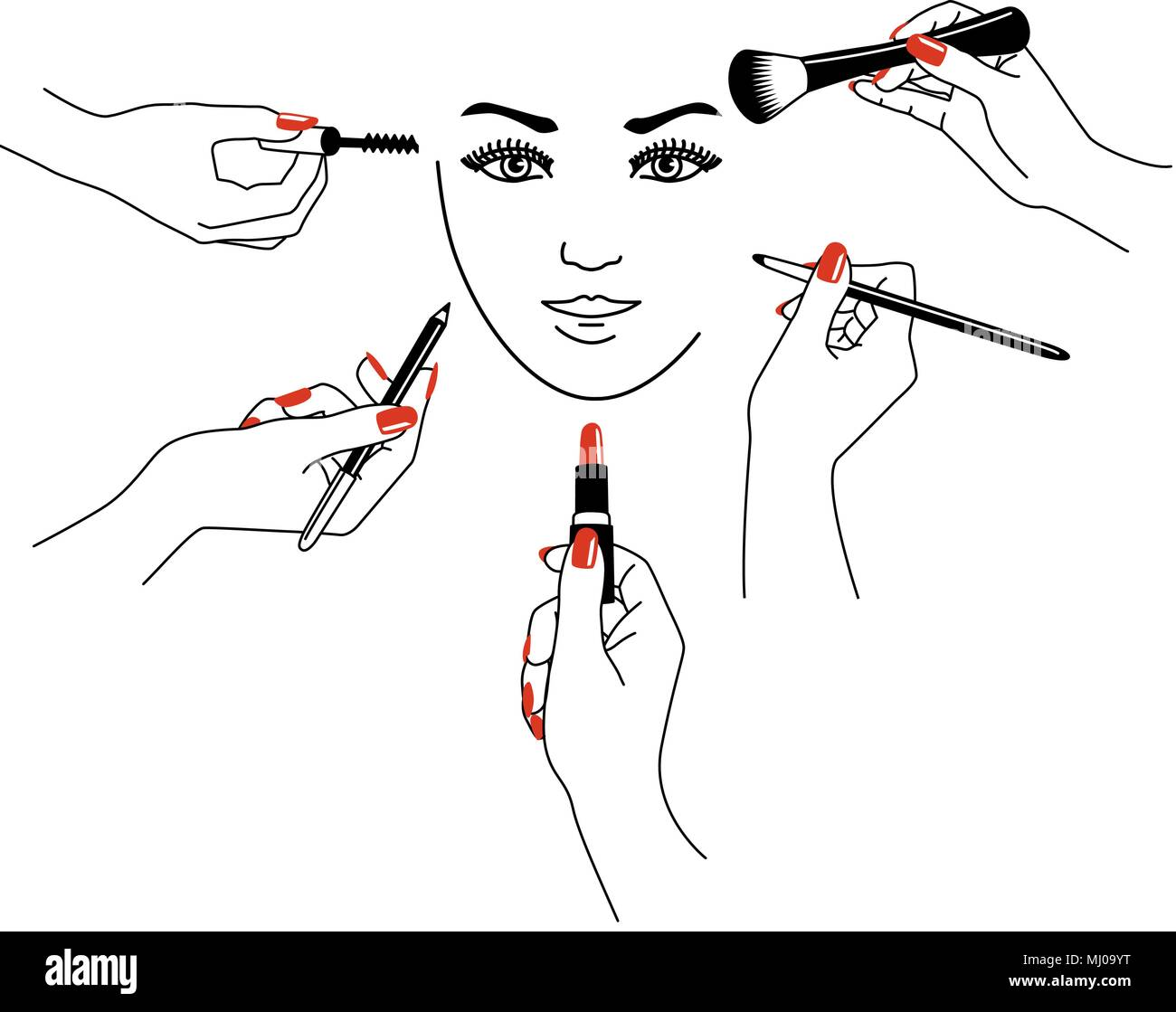 Vector Illustration Of Beauty Specialist With Tools For Make Up In Hand Isolated On White Background Stock Vector Image Art Alamy