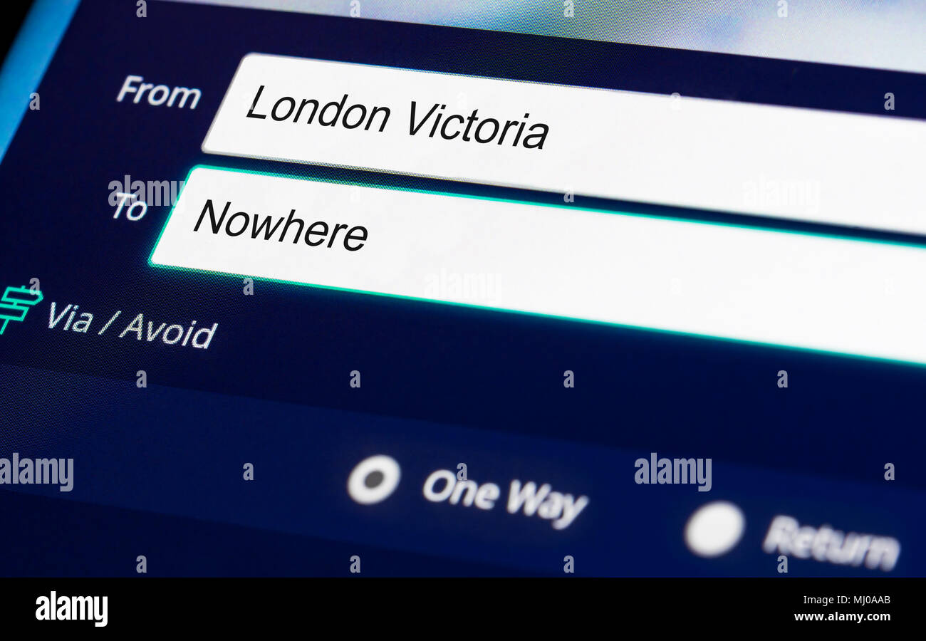 Booking a train ticket to go Nowhere. Nowhere to go concept. Going nowhere concept. - Stock Image