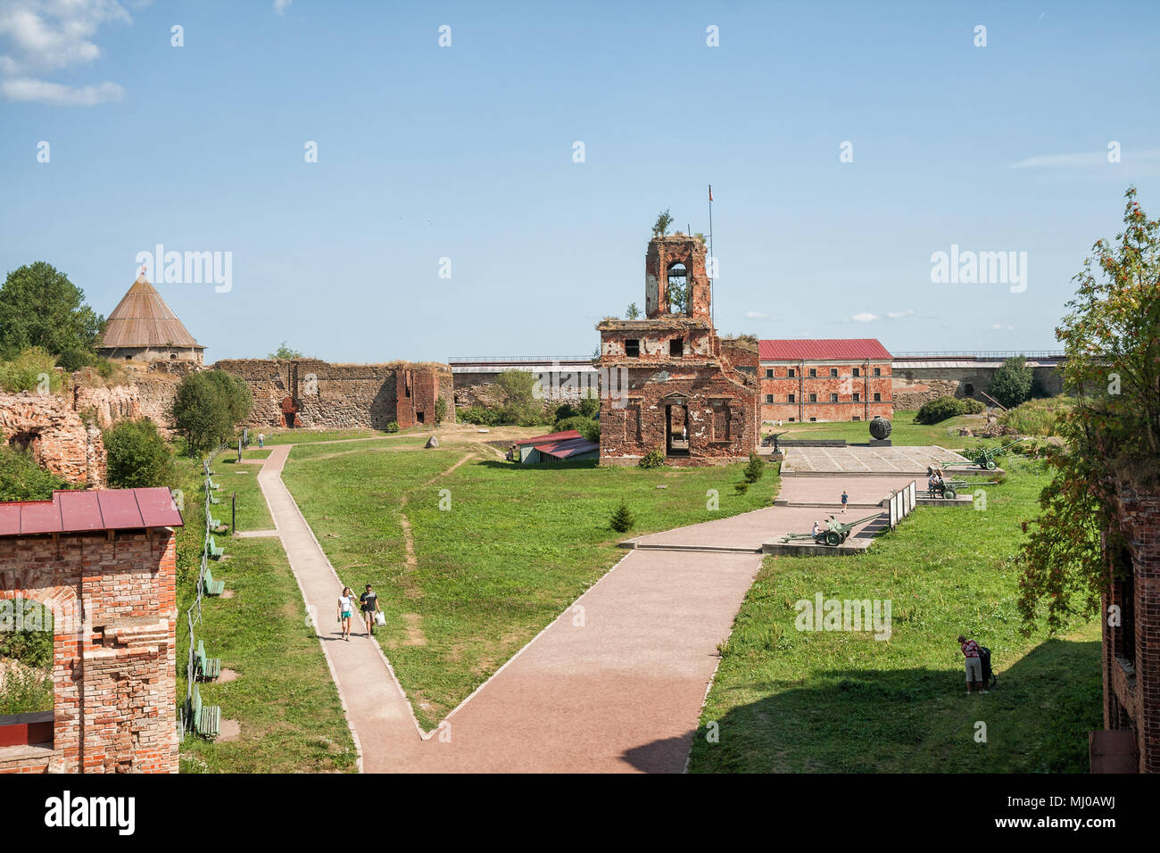 SHLISSELBURG, RUSSIA - AUGUST 02, 2014: People visit the fortress of Oreshek, a monument of the Great Patriotic War - Stock Image