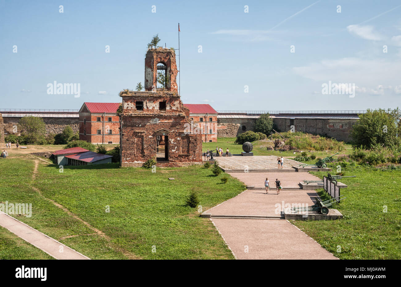 SHLISSELBURG, RUSSIA - AUGUST 02, 2014: People visit fortress Oreshek, monument of the Great Patriotic War - Stock Image