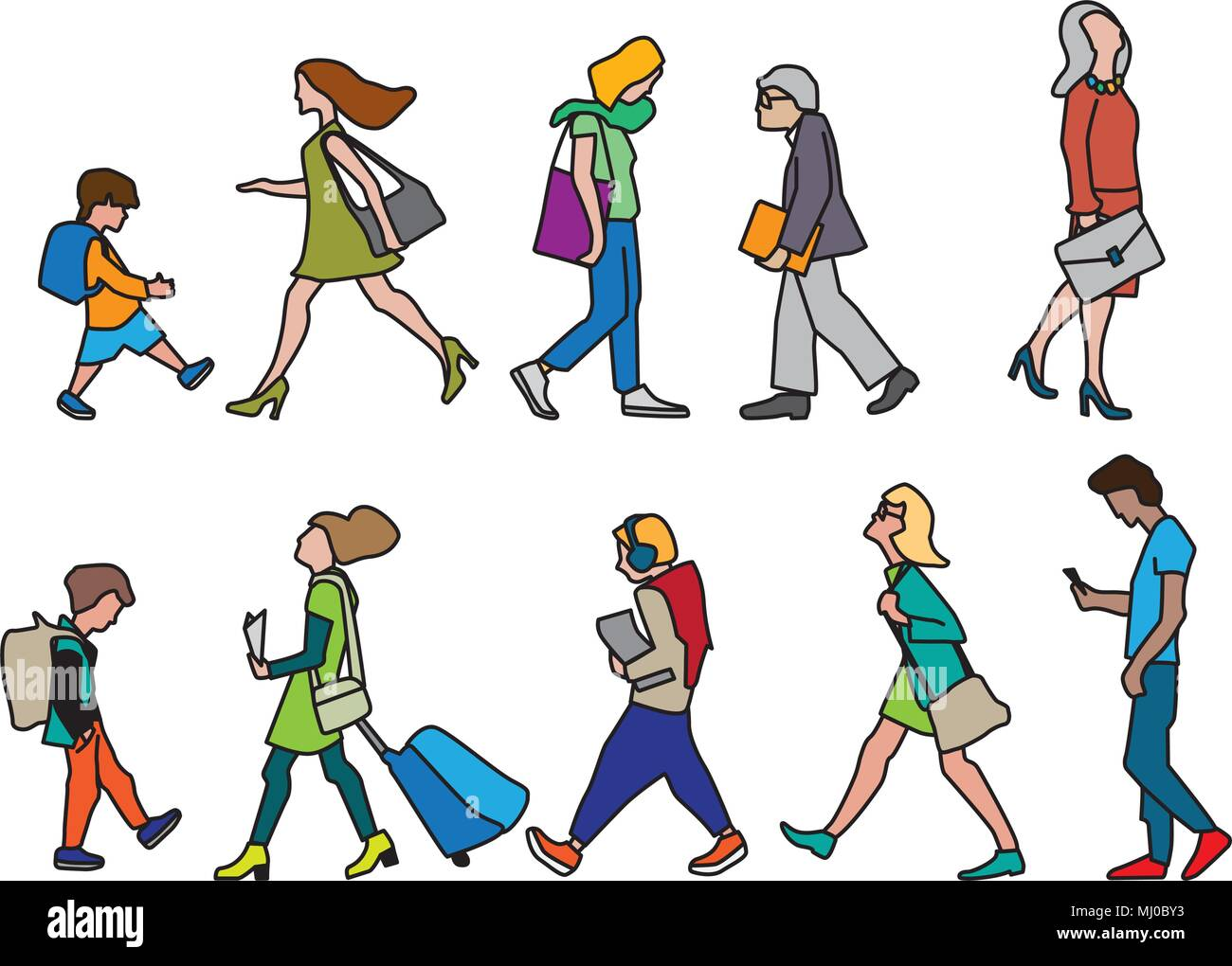 Vector illustration of People on the street. Characters set in flat design. - Stock Vector