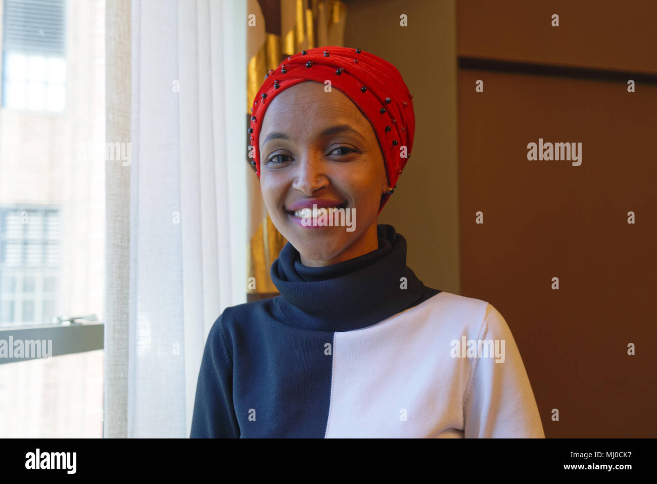 In 2016, Ilhan Omar won a seat in the Minnesota State Legislature, becoming the first Somali-American legislator in the United States. - Stock Image