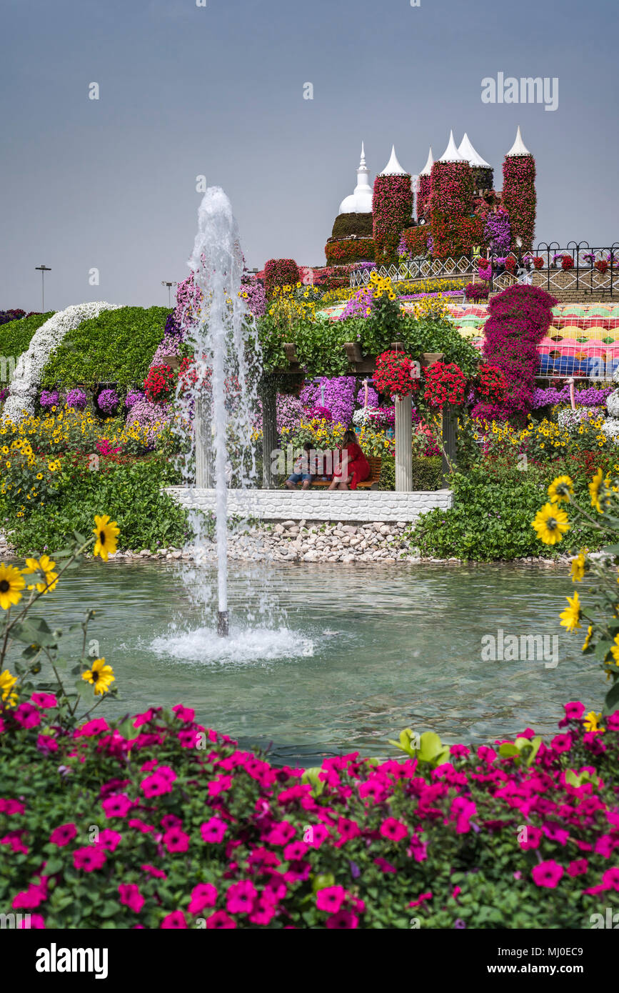 A Decorative Water Fountain At The Miracle Gardens In Dubai, UAE, Middle  East.