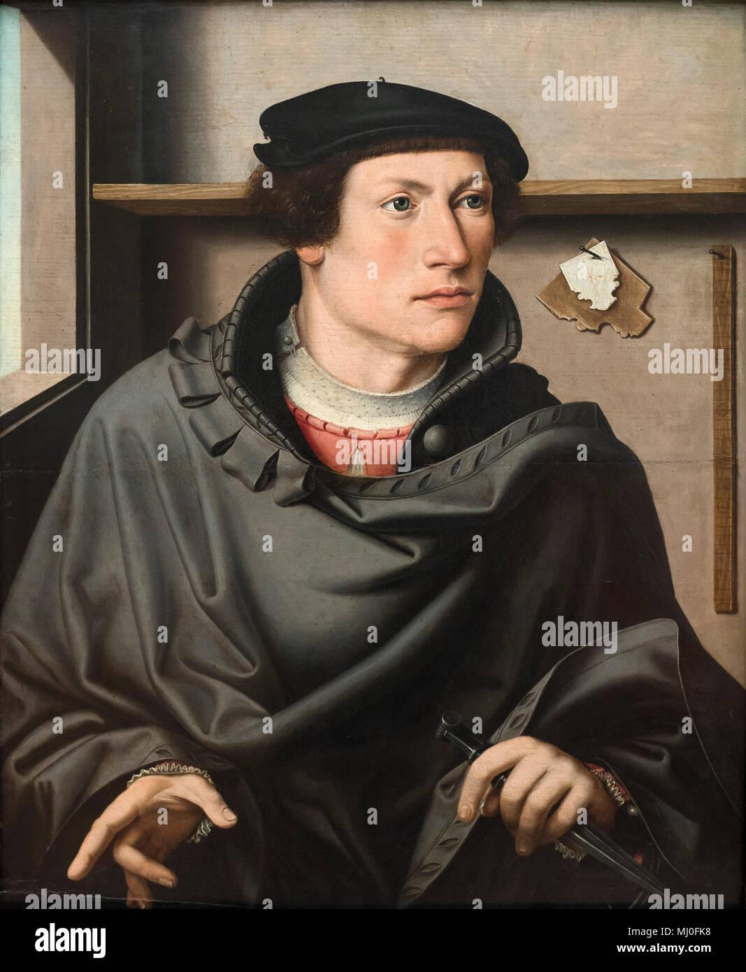 Ludger Tom Ring the Elder (1496-1547), attr. Portrait of an Architect, n.d. Bildnis eines Architekten. - Stock Image