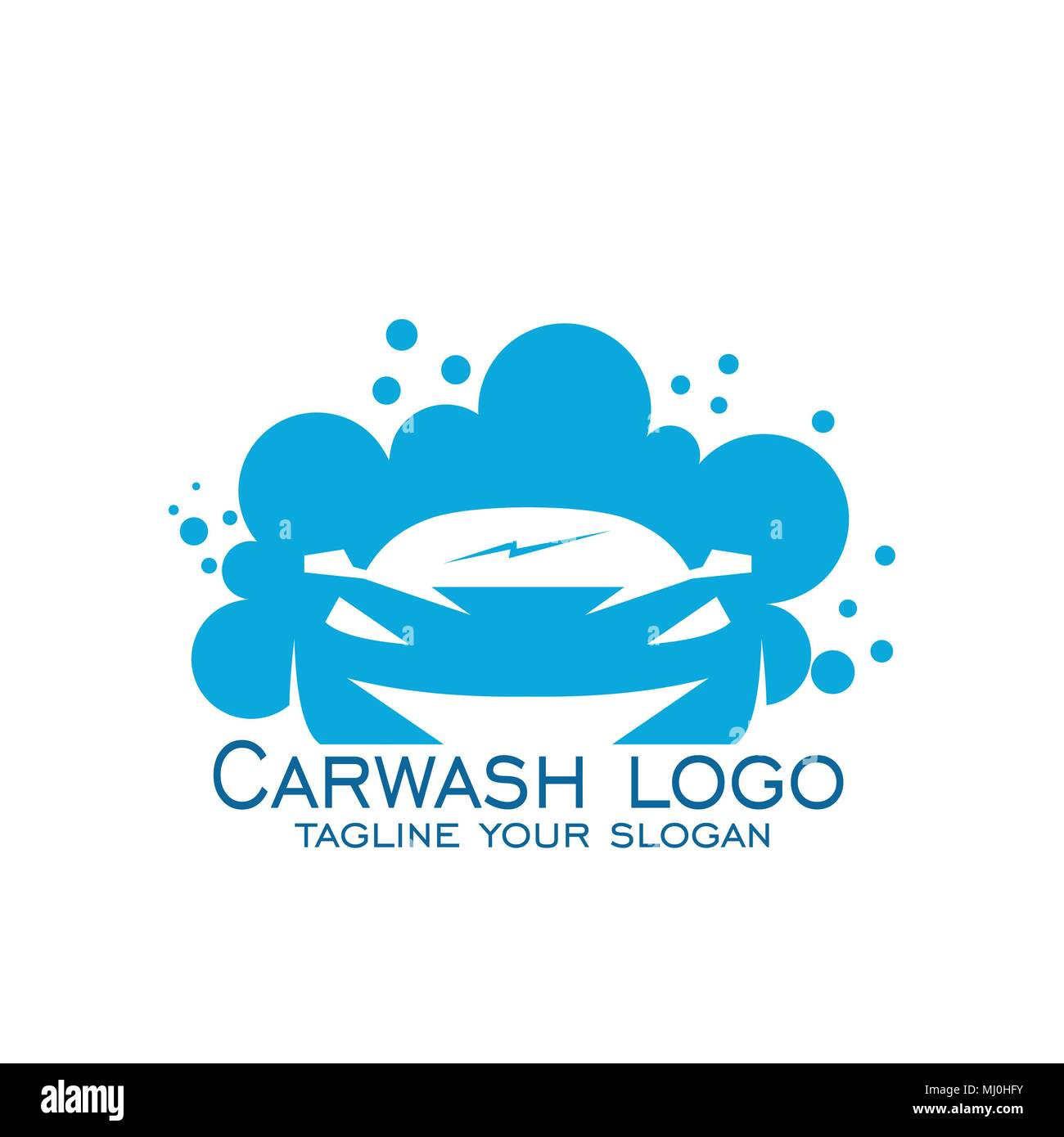 Car Wash Logo Design Vector Icons Blue Logo Isolated On White