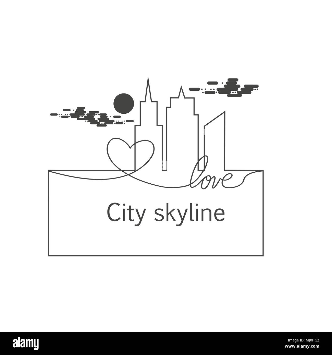Silhouette of the city and heart and love and sun and cloud
