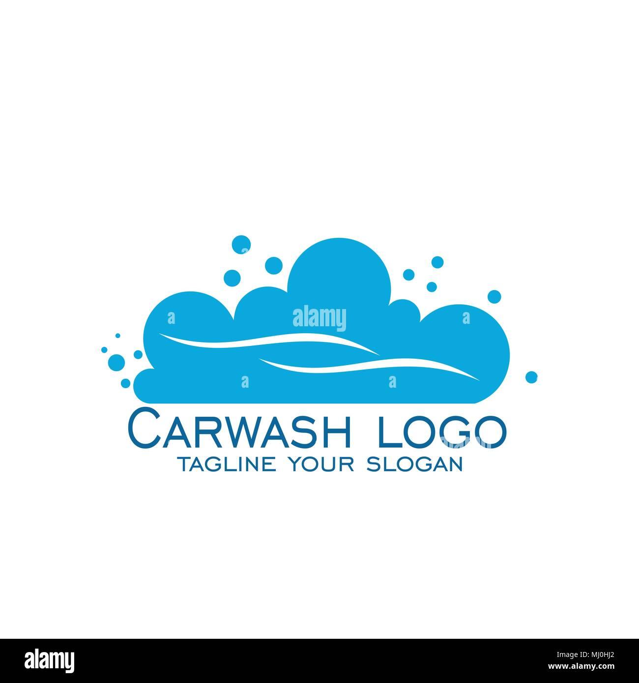 Car Wash Logo Design Vector Icons Blue Logo Isolated On White